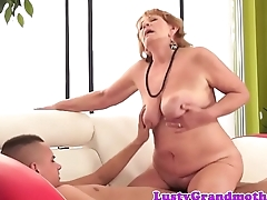 Bigbooty grandma tastes cum after sucking