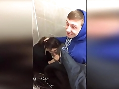 Shoots video on blowjob in the toilet in Russia