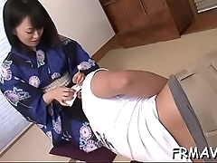 Cute japanese only gives superb oral pleasure during threesome