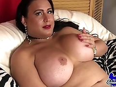 Mature wanking tgirl pleasures her dick