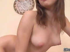 Pretty sweetie is opening up narrow pussy in closeup and coming